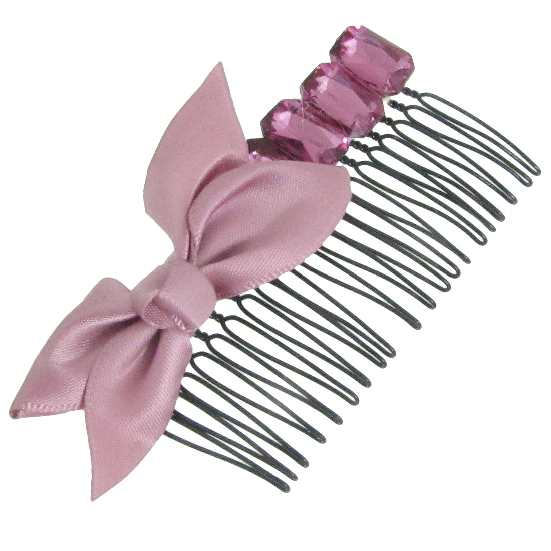 Dark Pink Polyester Bowknot Decor Hair Comb Clip Clamp for Ladies