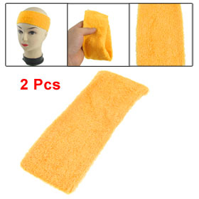 2 Pcs Yellow Terry Cloth 7cm Wide Elastic Sport Headband