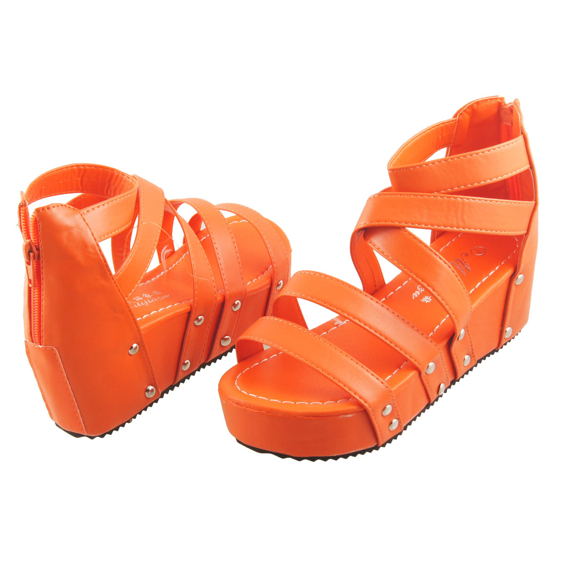 Women Faux Leather Strappy Zipper Back Ankle Sandals Wedge Shoes Orange US 5