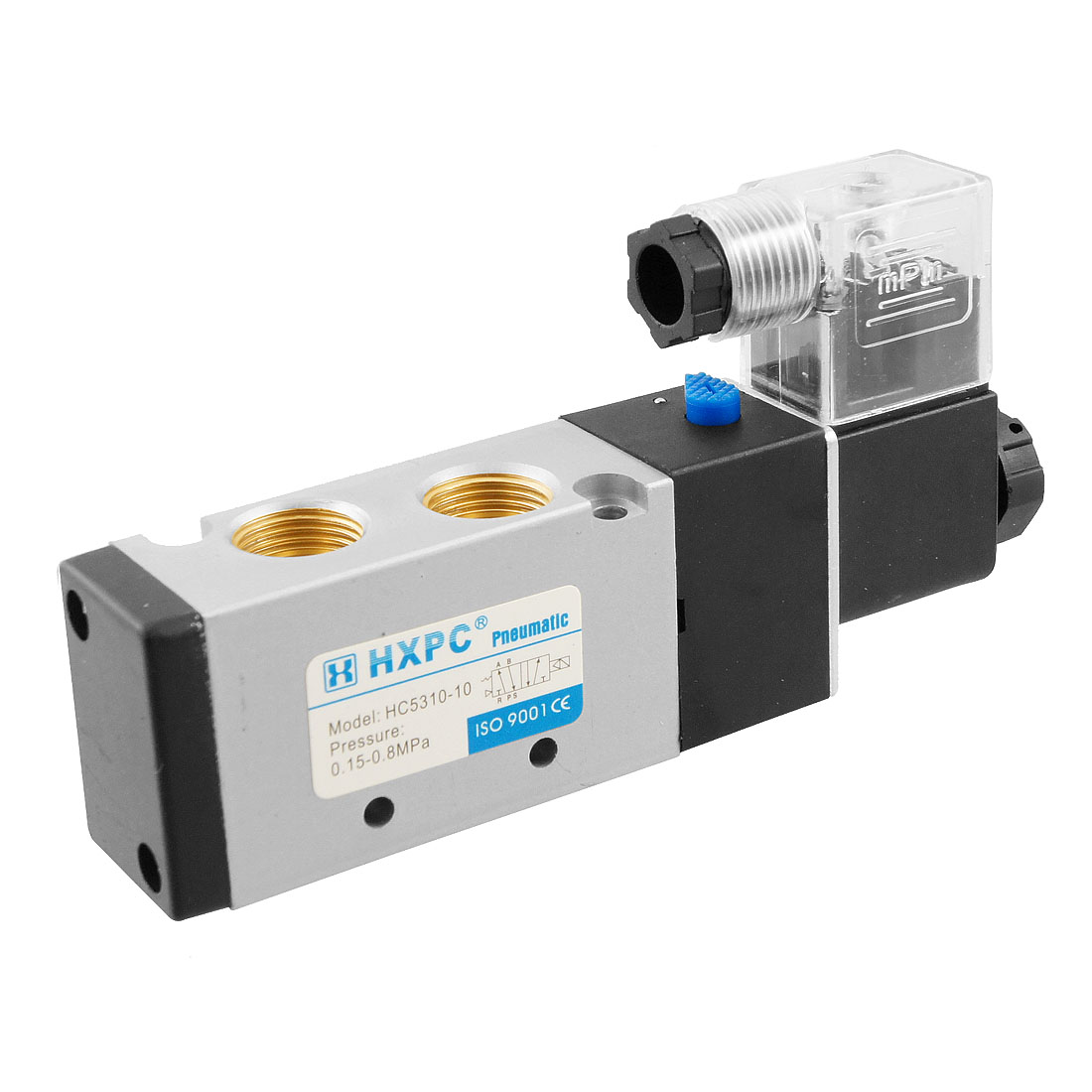 HC5310-10 AC 220V 50mA 5 Port 3/8 PT Air Inlet Outlet Solenoid Valve