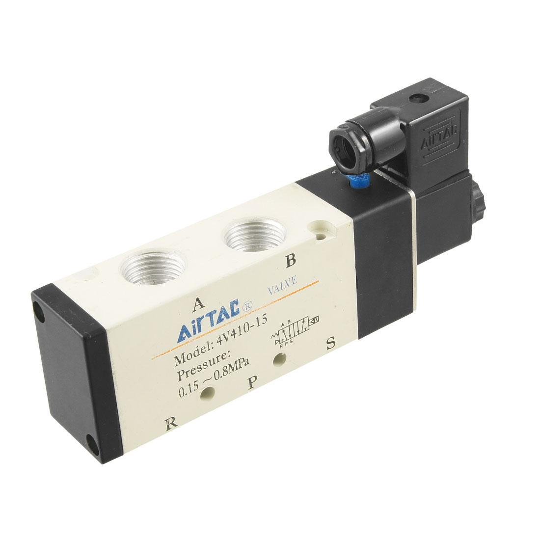 """4V310-15 1/2"""" PT 2 Position 5 Port Solenoid Valve AC 220V 24mA"""