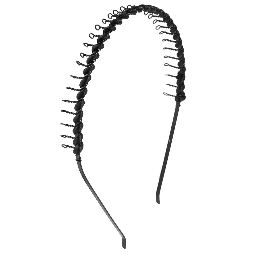 2 Pcs Black Metal Teeth Hair Hoop Headband Decor for Lady
