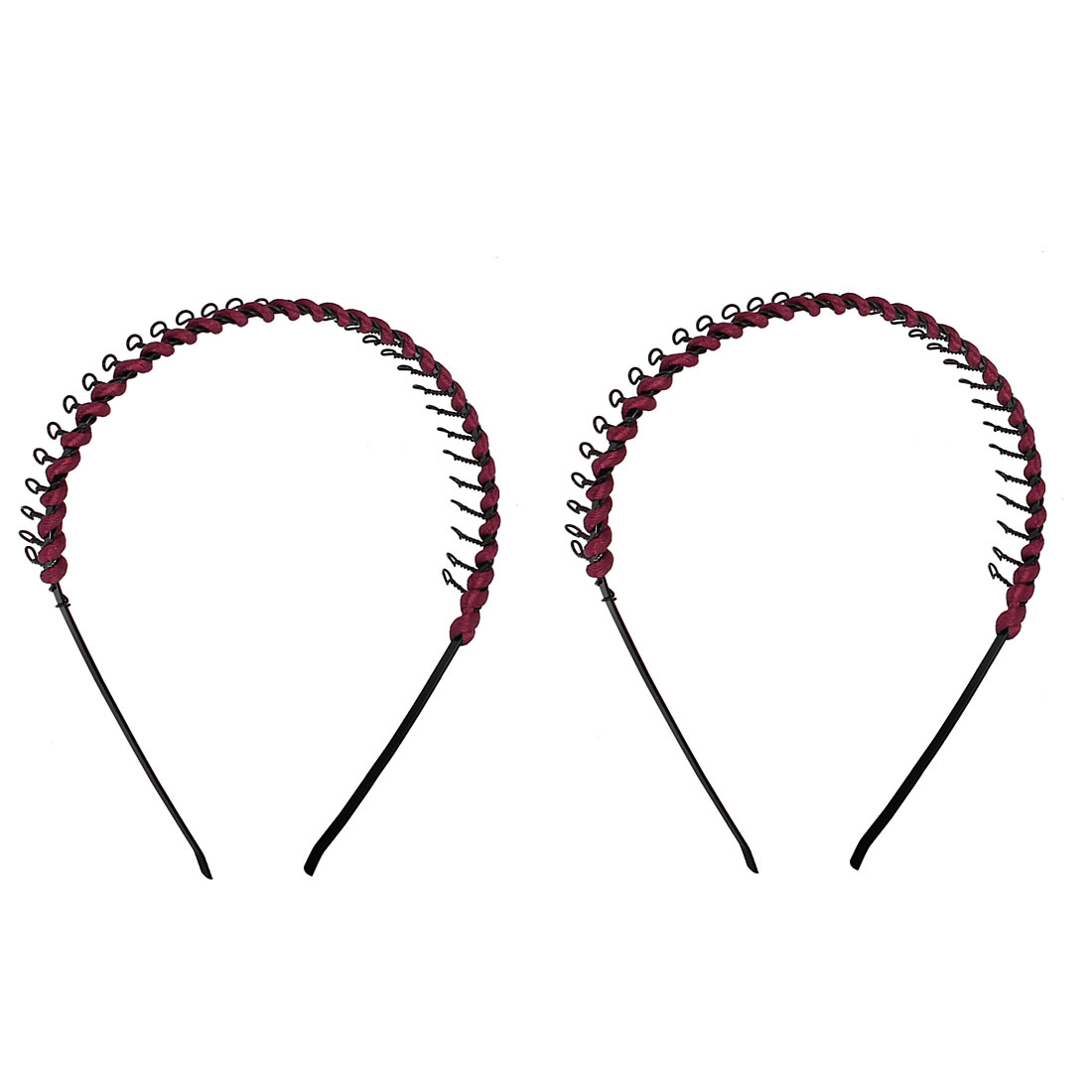 2 Pcs Lady Burgundy Black Metal Teeth Hair Hoop Headband Ornament