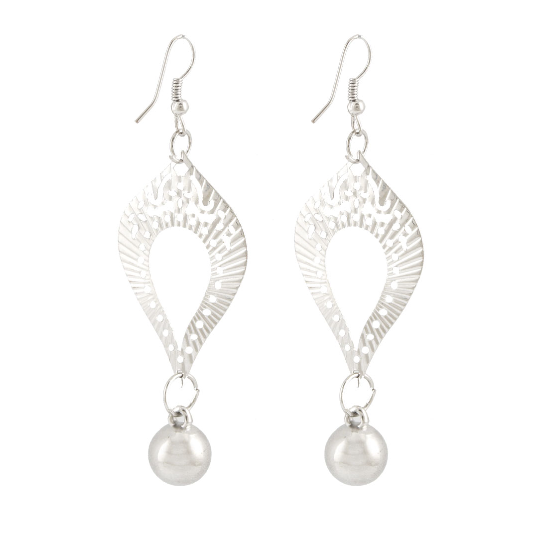 Woman Silver Tone Linked Teardrop Bead Pendant Dangling Earrings