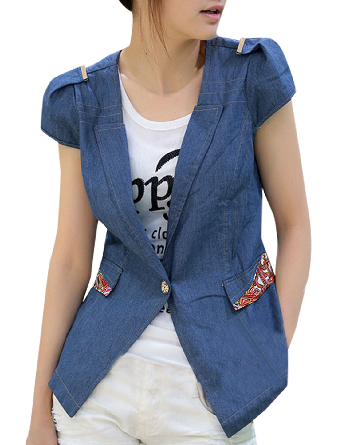 Women Peaked Lapel Collar Cap Sleeve Blue Denim Mock Pocket Coat MDenim