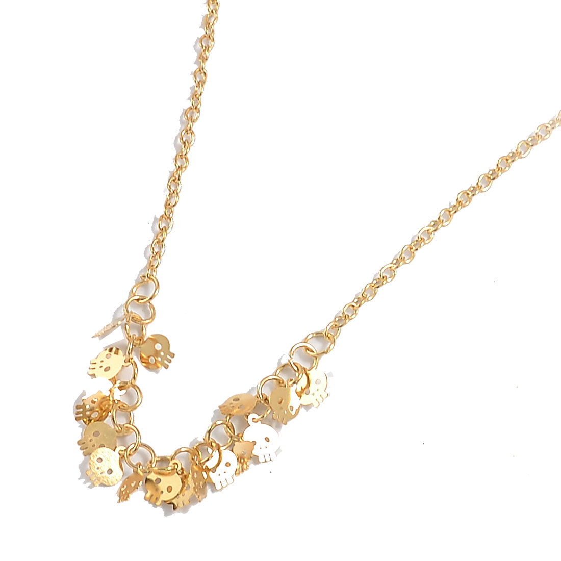 Gold Tone Multi Skulls Detail Slim Chain Necklace for Woman