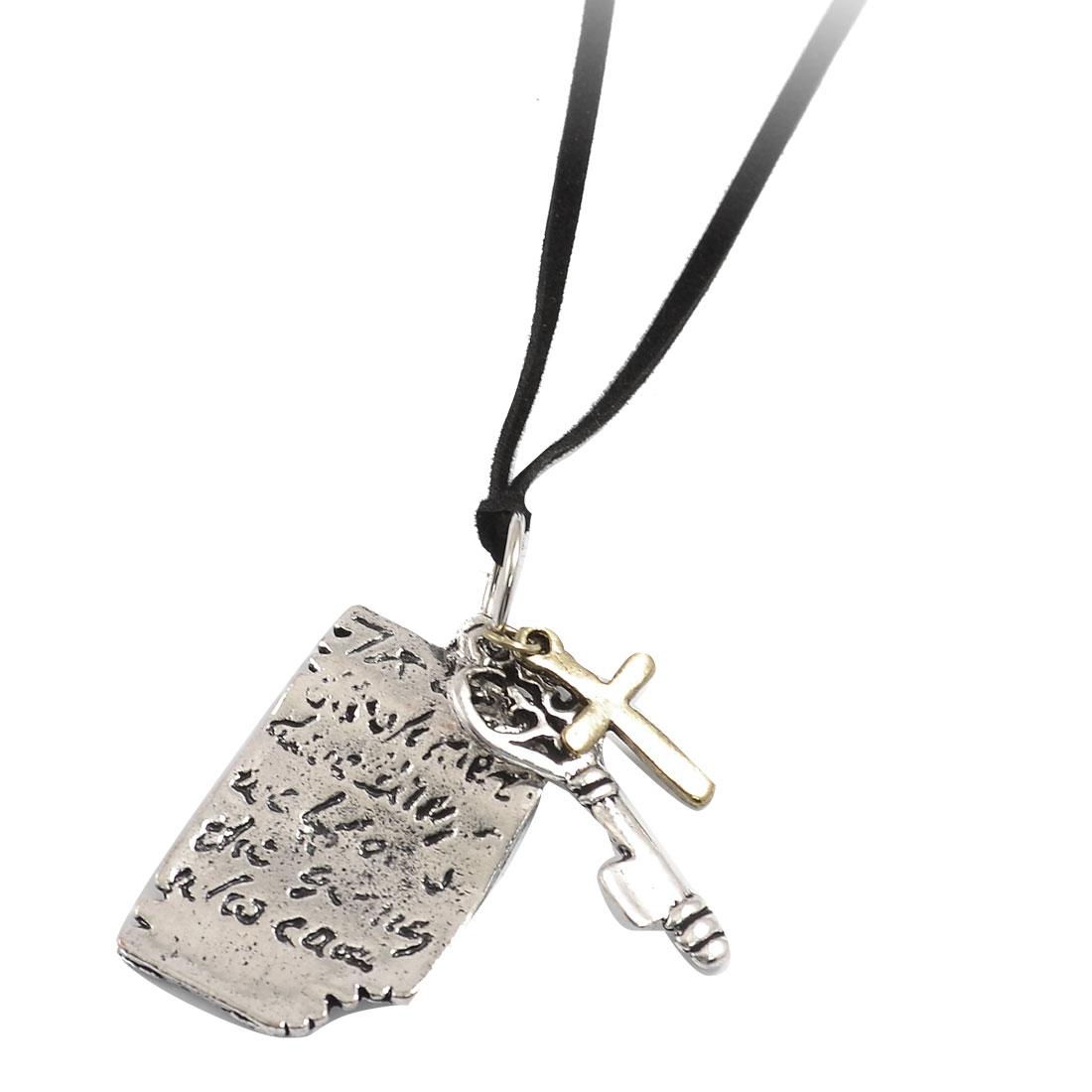 Woman Silver Tone Metal Plate Key Pendant Black String Necklace