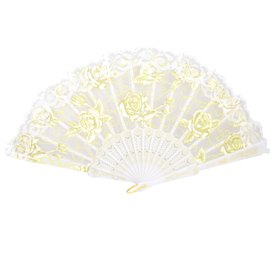 White Foldable Plastic Rib Glittery Floral Gauze Decor Hand Fan