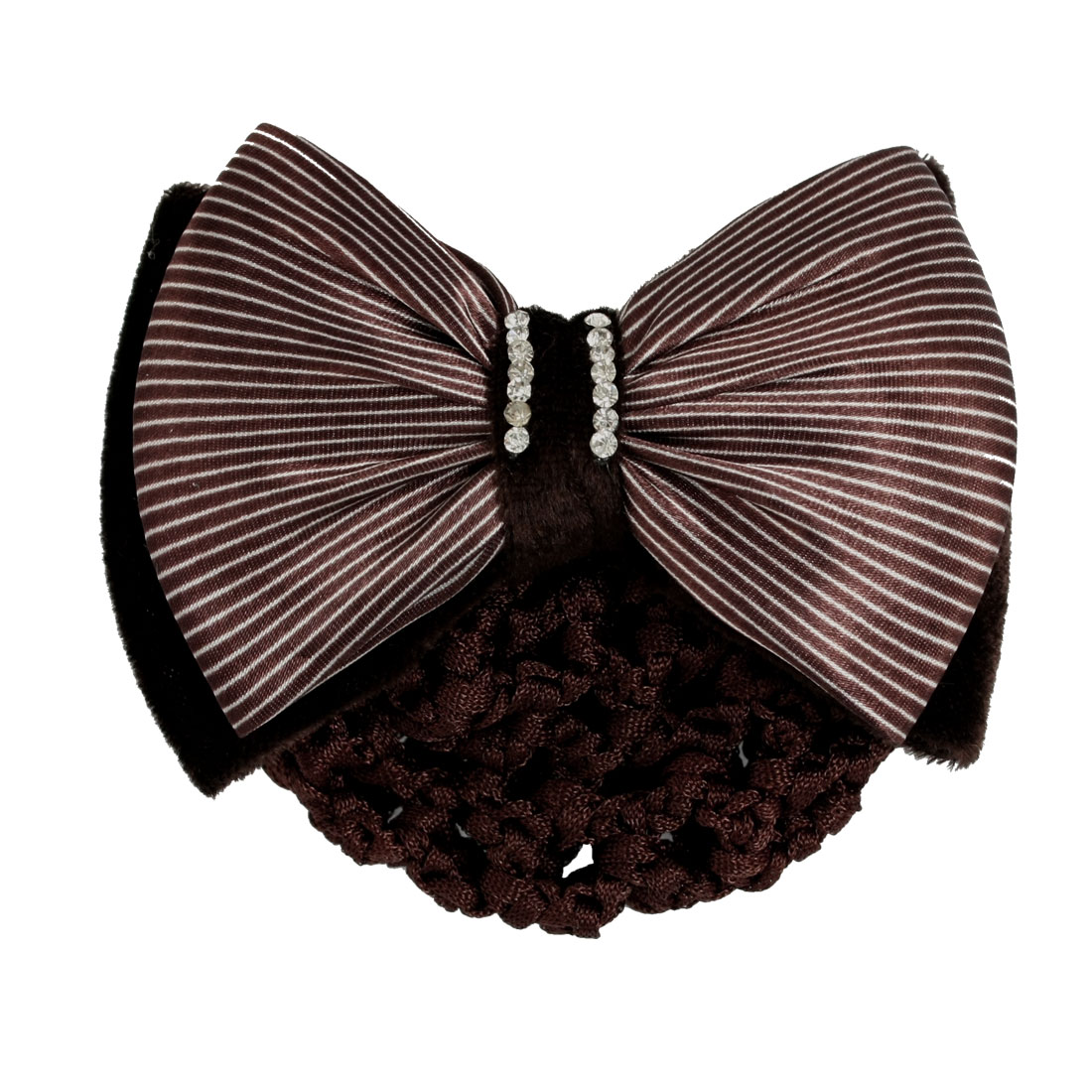 Women Bow Rhinestone Decor Barrette Coffee Color w Snood Hair Net