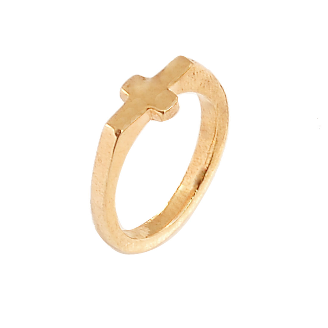 Women Jewelry Cross Detail Gold Tone Metal Finger Ring US 6