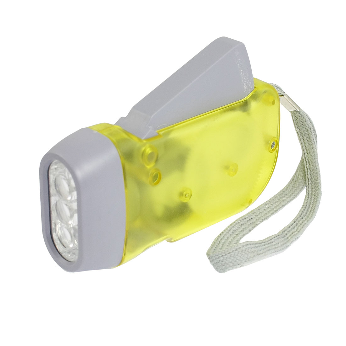 Clear Yellow Plastic Hand-pressing 3 LED Flashlight Torch with Hand Strap