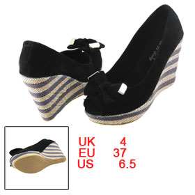 Women Bowtie Peep Toe Multicolor Weave Platform Pumps Wedge Shoes Black EU 37
