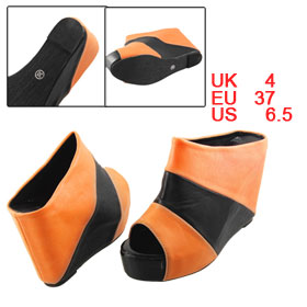Women Peep Toe Orange Black Faux Leather Concealed Platform High Wedge Shoes UK 4