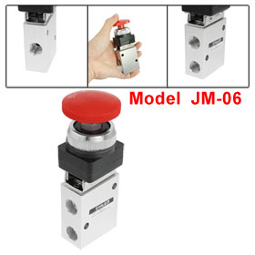 JM-06 2 Position 3 Way Red Mushroom Button Mechanical Valve