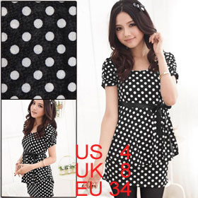 Ladies Black Polka Dots Print Form-fitting Flounced Stretchy Tunic Shirt XS