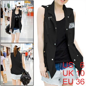 Black Zip up Lapel Collar Flap Pockets Drawstring Waist Vest S for Women