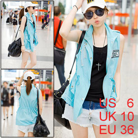 Women Baby Blue Zip up Lapel Collar Epaulet Shoulder Vest S