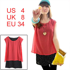 Lady Watermelon Red Scoop Neck Sleeveless Dots Fake Two Pieces Tunic Shirt S