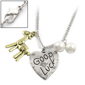 Woman Good Luck Heart Deer Pendant Silver Tone Chain Necklace