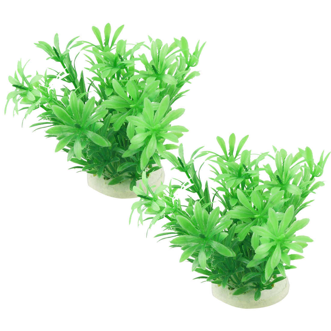 "4.1"" Height 2 Pcs Ceramic Base Emulational Plant Grass for Aquarium Fish Tank Green"