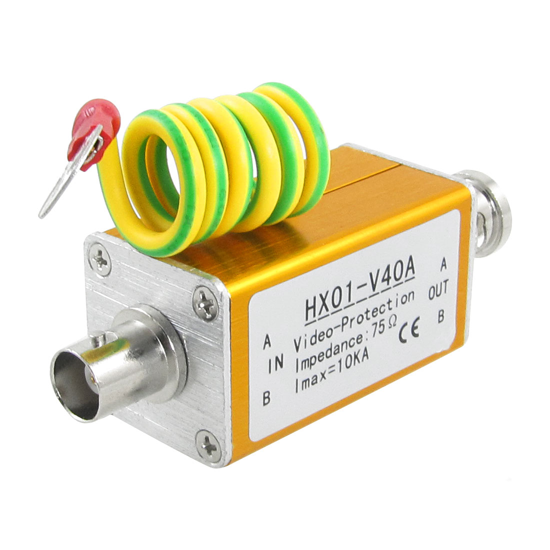 Gold Tone BNC Connetor Coaxial Video Signal Lightning Arrester