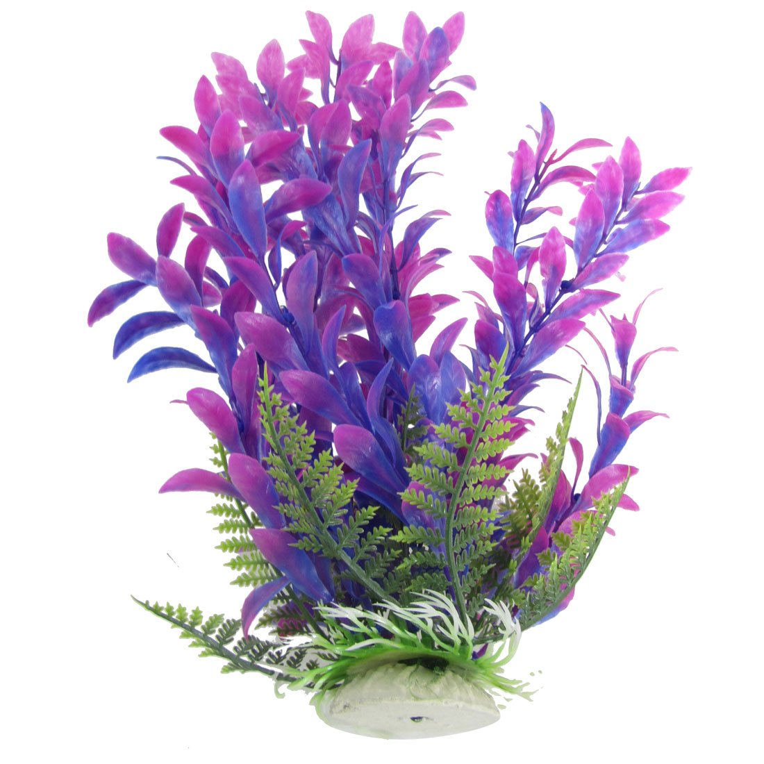 """Purple Blue Ceramic Base Plastic Aquatic Plant Decor for Aquarium 10.6"""""""