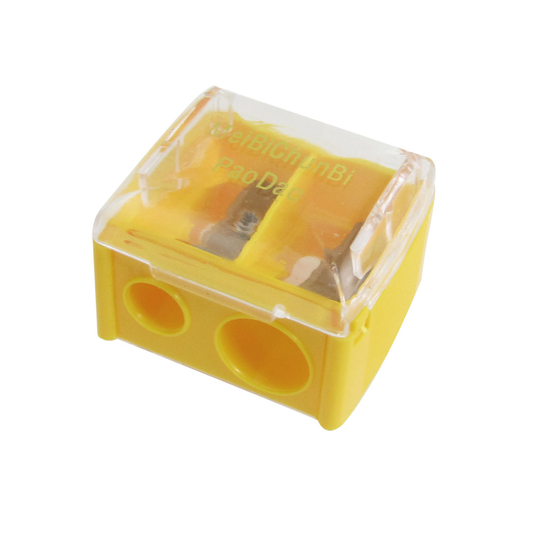 Yellow Clear Plastic Shell Double Hole Pencil Sharpener
