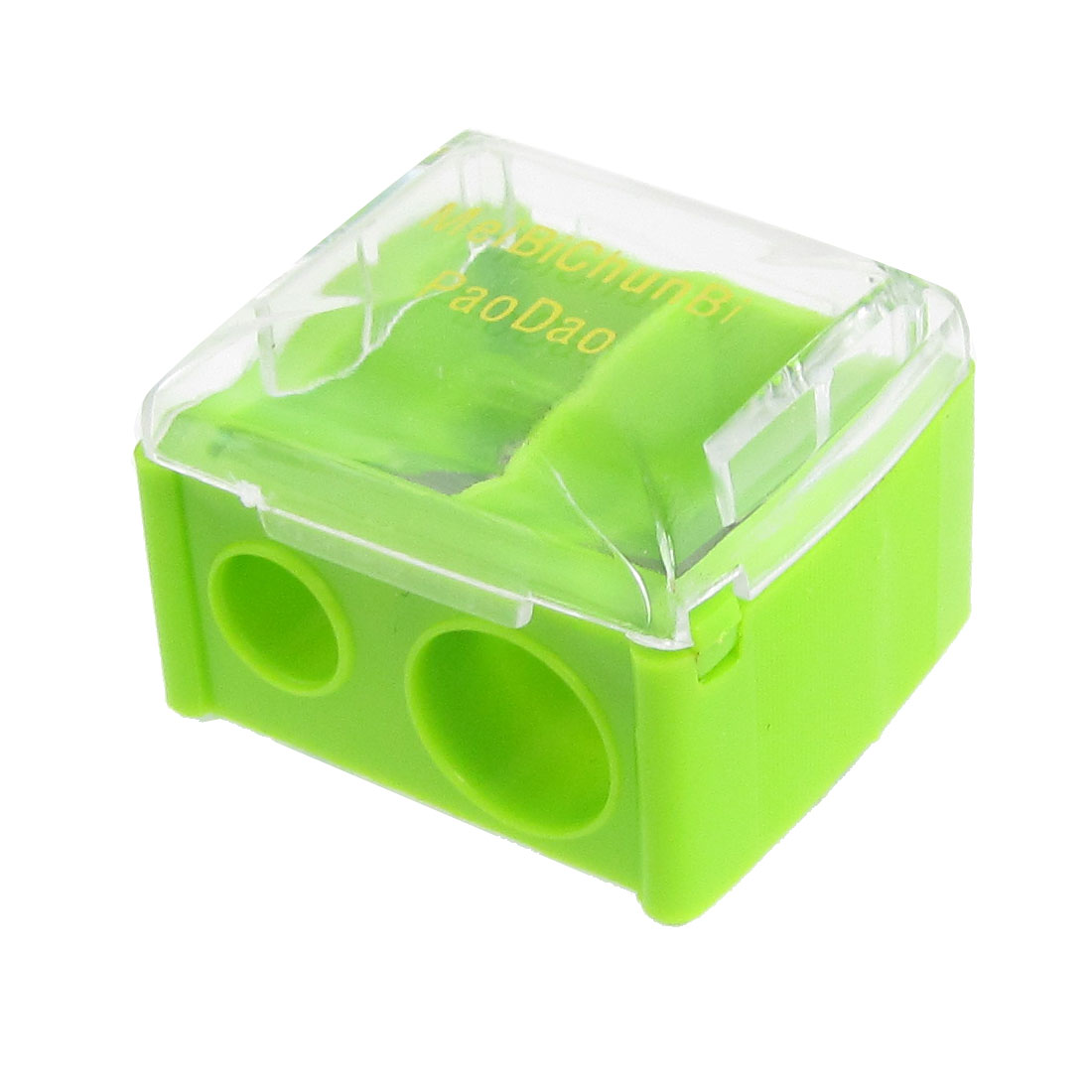 School Office Green Clear Double Hole Pencil Sharpener