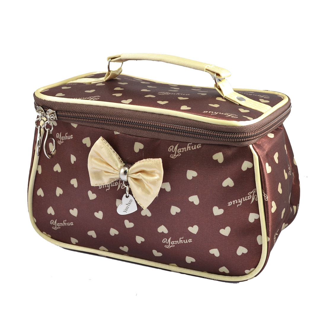 Women Heart Pattern Bowknot Decor Zipper Cosmetic Bag Purse Coffee Color