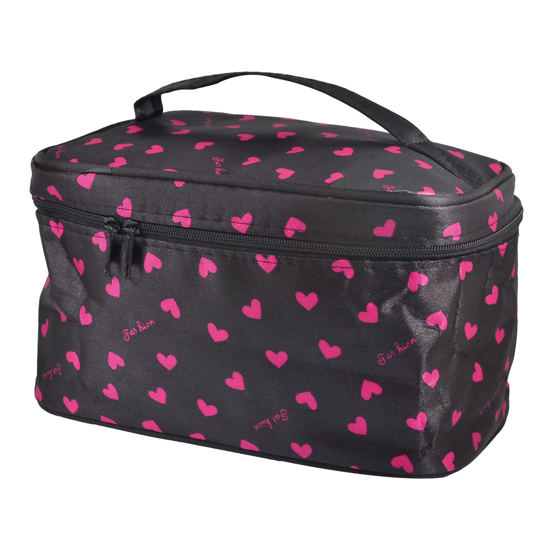 Women Heart Print Zip up Closure Travel Cosmetic Bag Pouch Black