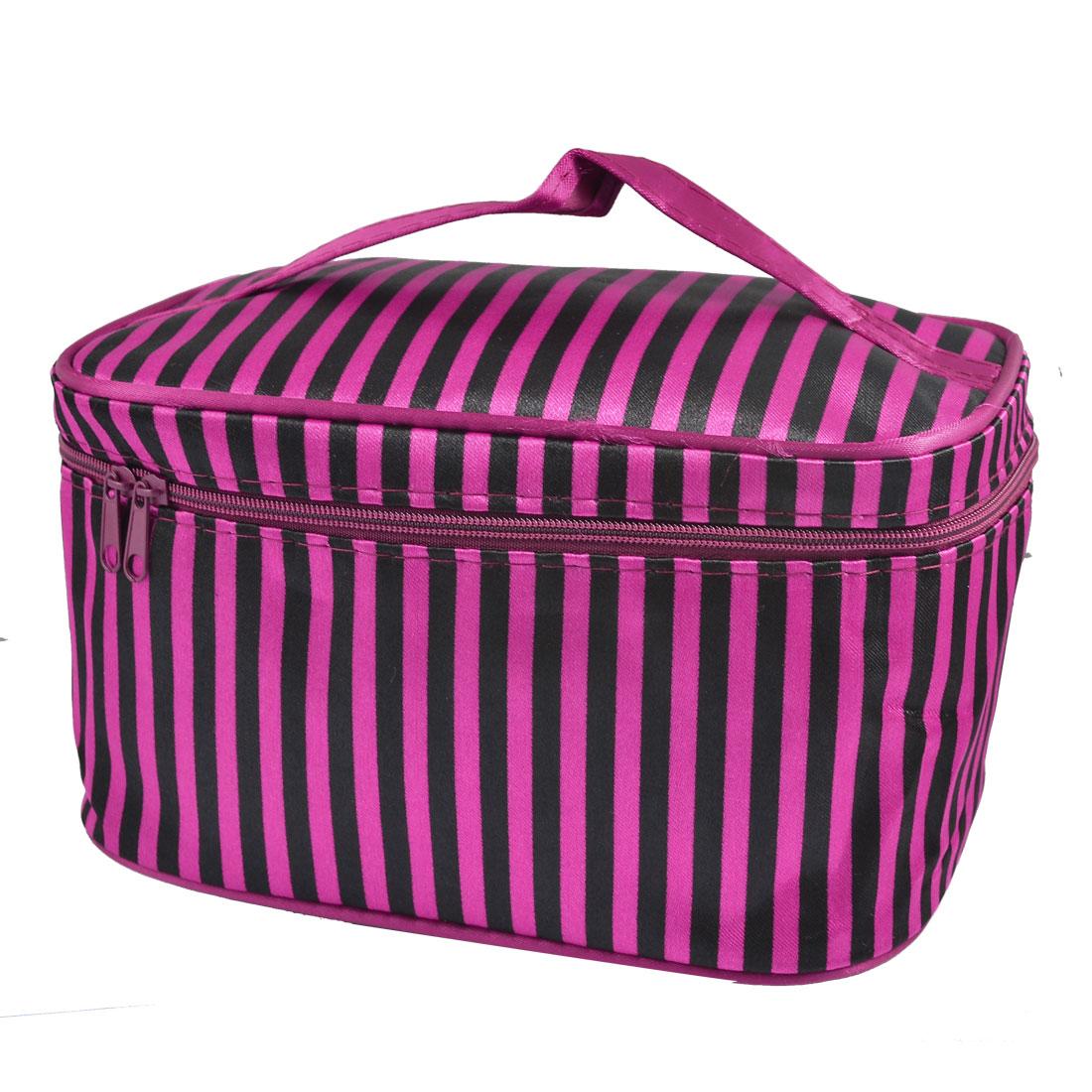 Black Fuchsia Stripe Pattern Zipper Rectangle Cosmetic Makeup Bag for Women