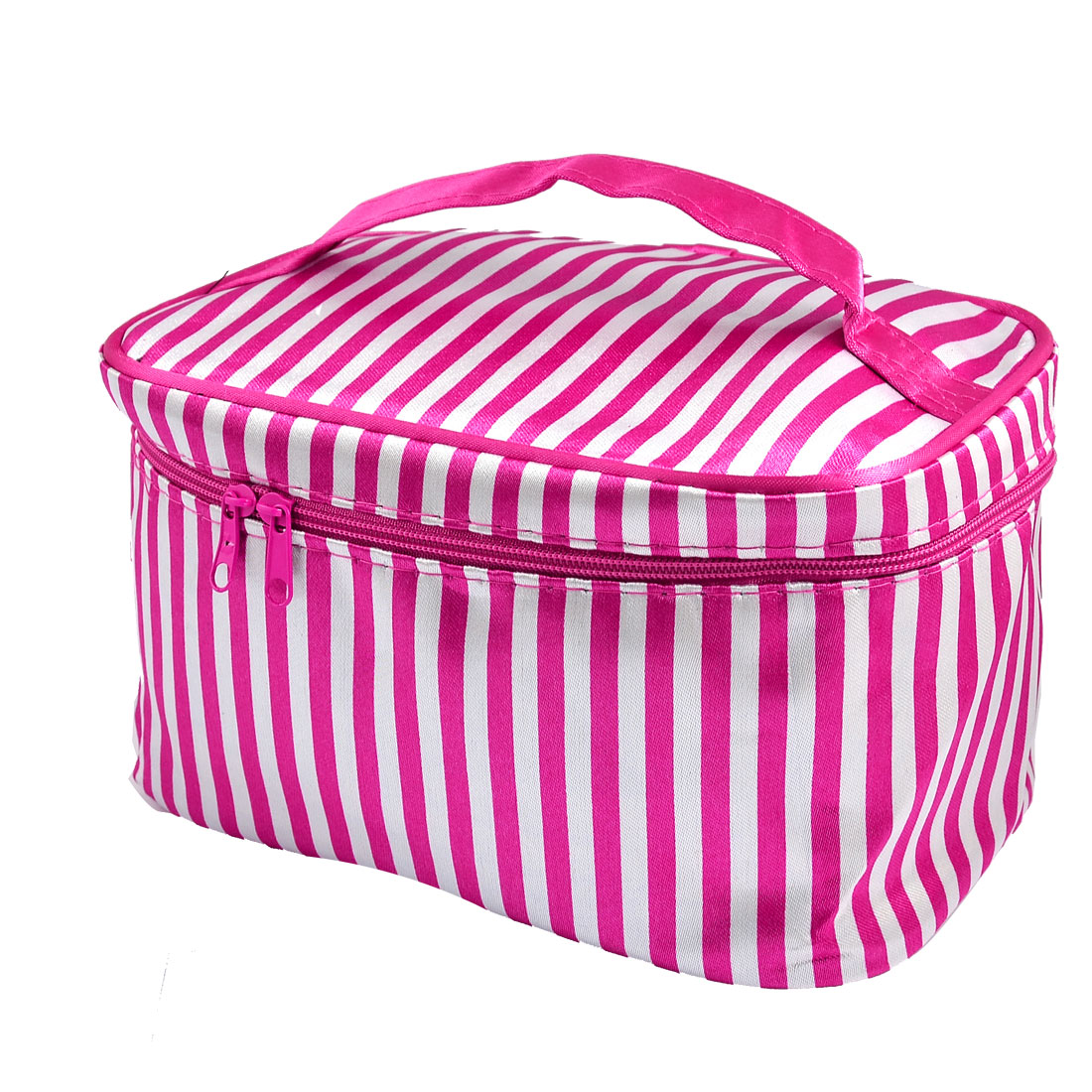 Stripe Pattern Zip up Closure Rectangle Cosmetic Bag Fuchsia for Women