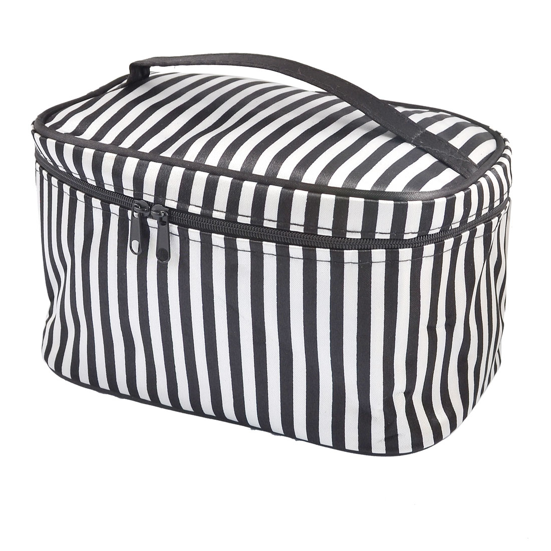 Black Stripe Pattern Zip up Closure Rectangle Cosmetic Bag for Women