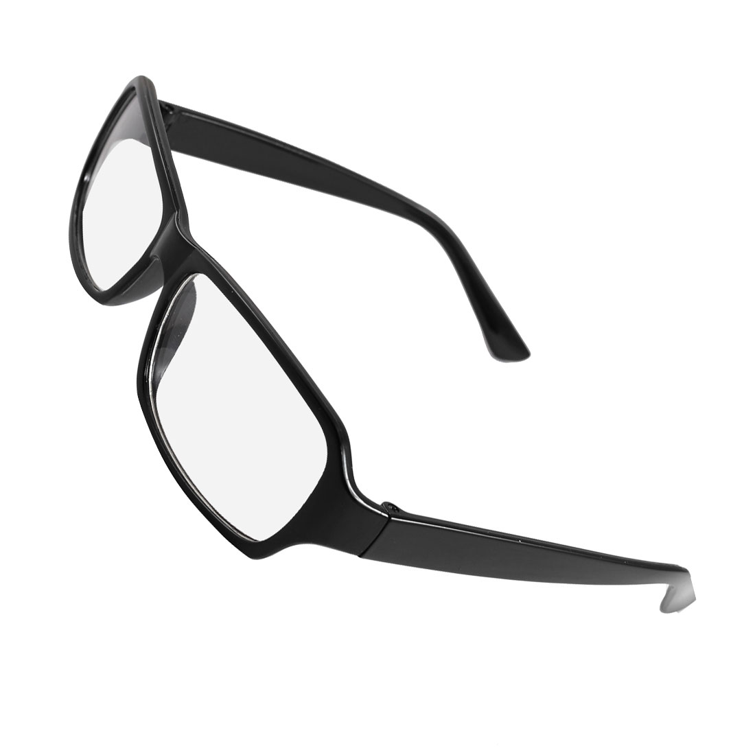 Women Men Black Plastic Arms Full Frame Clear Lens Glasses