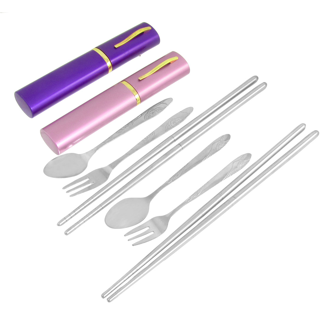 2 Sets Stainless Steel Travel Spoon Chopsticks Fork Tableware w Case