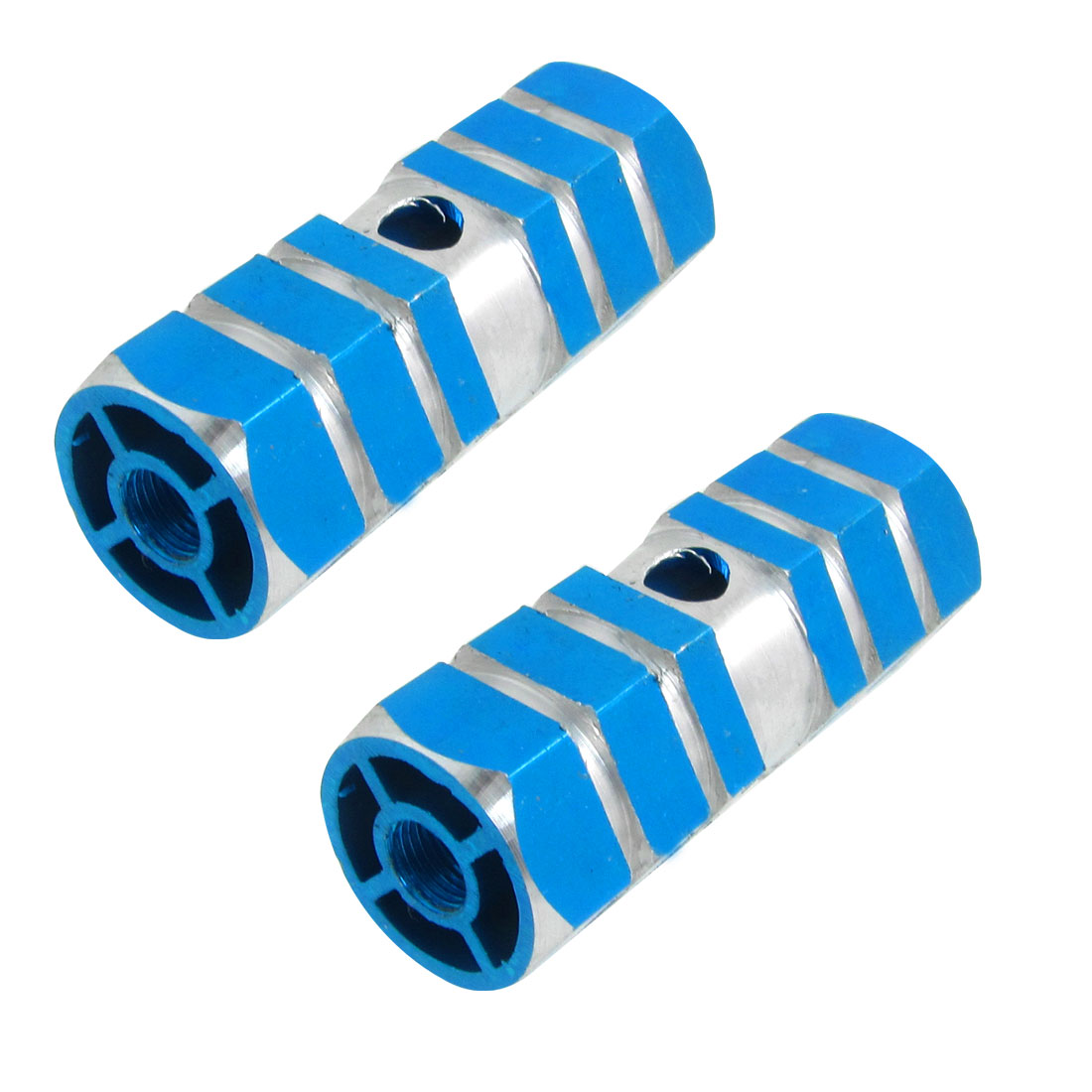 Sky Blue Aluminum Nonslip Bicycle Front Rear Axle Foot Pegs Pair