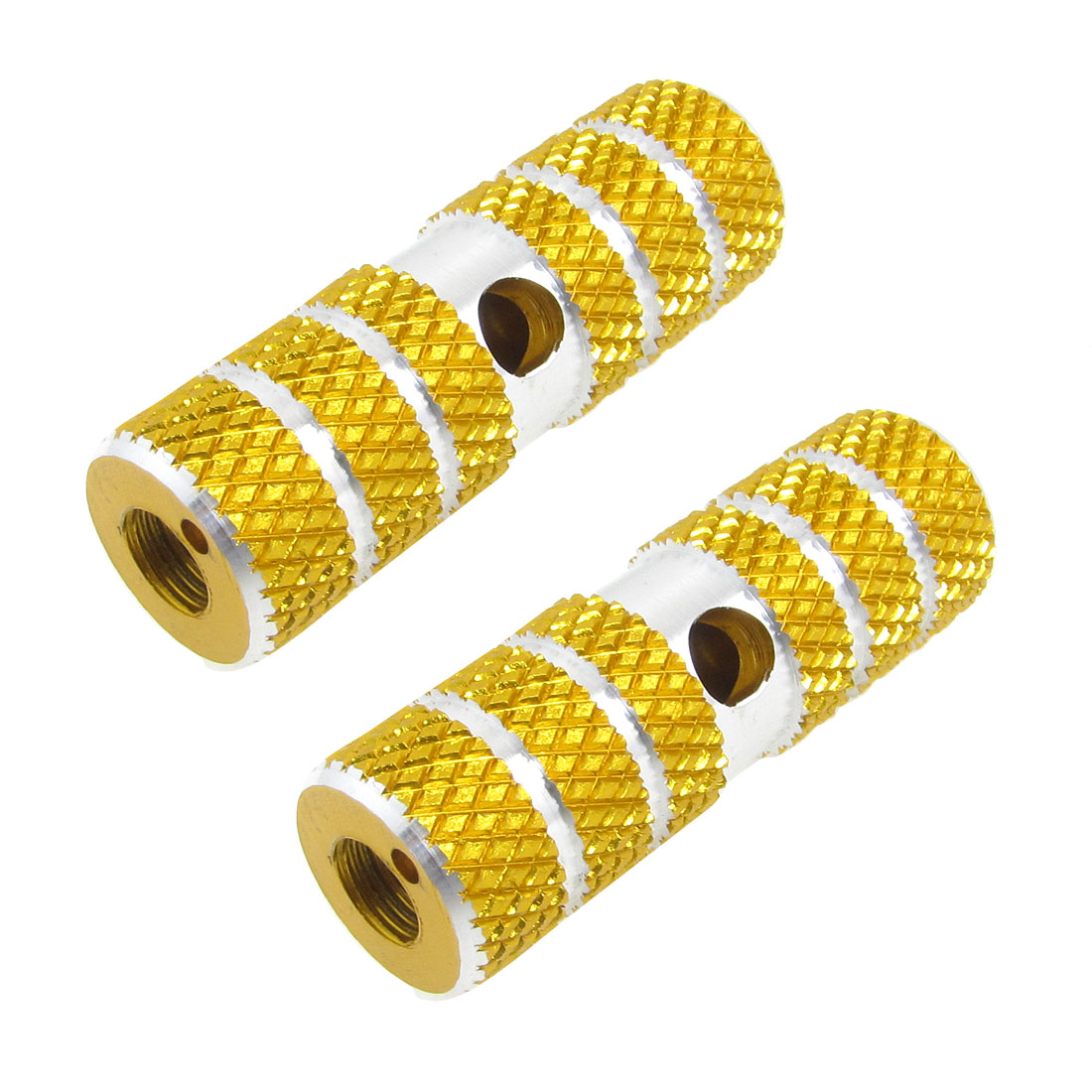 "0.35"" Axle Hole Diameter Gold Tone Aluminum Bicycle Foot Pegs 2 Pcs"