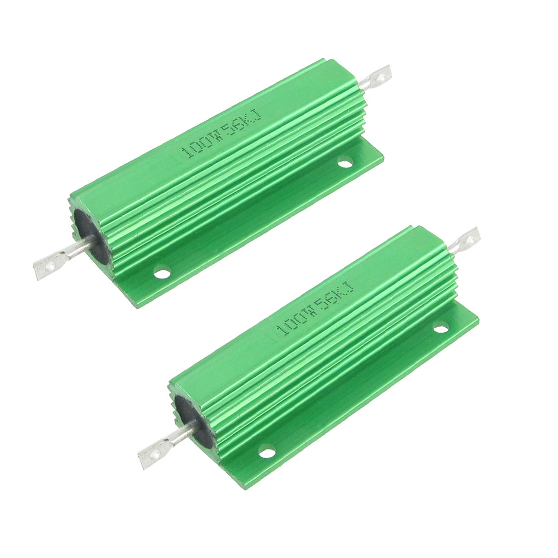 100W 56K Ohm Screw Tap Mounted Aluminum Housed Wirewound Resistors 2 Pcs