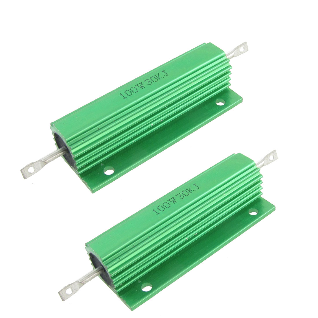 100W 30K Ohm Screw Tap Mounted Aluminum Housed Wirewound Resistors 2 Pcs