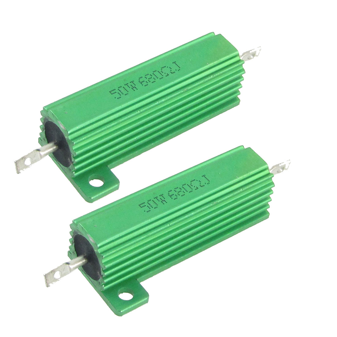 50W 680 Ohm Screw Tap Mounted Aluminum Housed Wirewound Resistors 2 Pcs