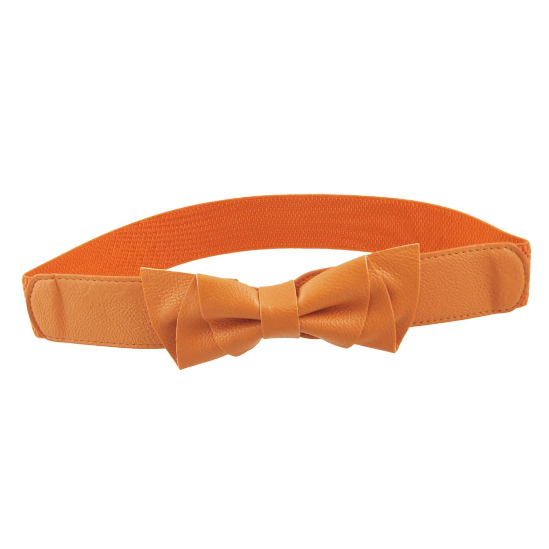 Ladies Bowknot Decor Orange 3.8cm Wide Stretchy Waist Belt