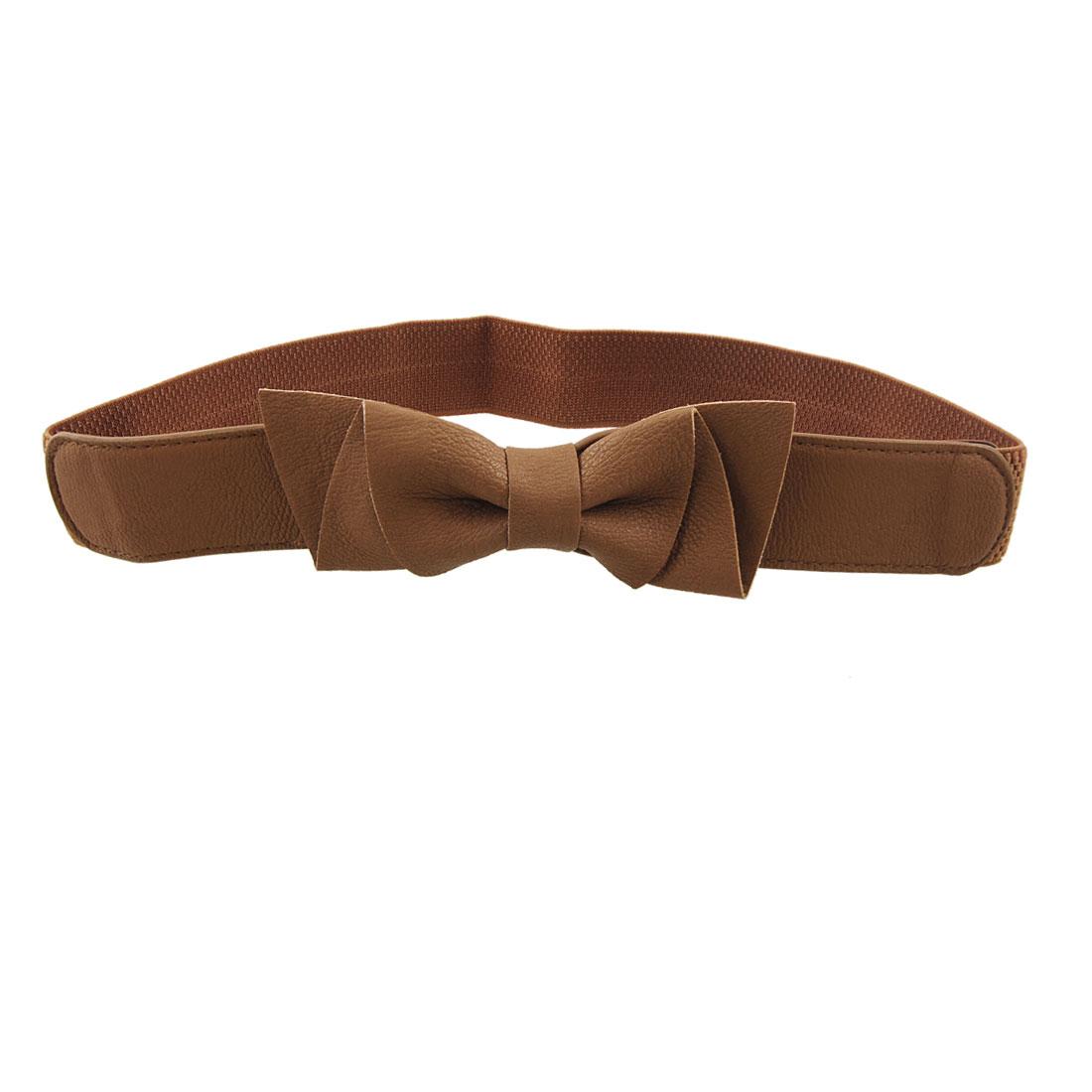 Women Press Button Closure Bowknot Decor Brown Stretch Belt