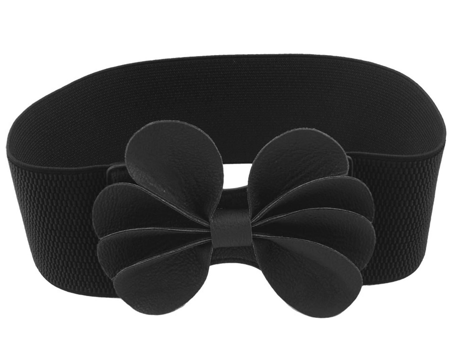 Lady Faux Leather Flower Wide Elastic Cinch Belt Black