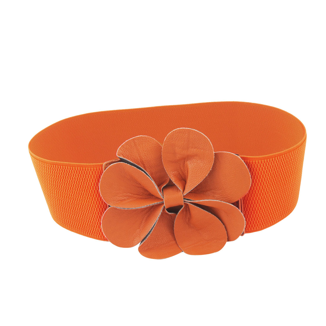 Ladies Orange Faux Leather Flower Elastic 7.5cm Wide Cinch Belt