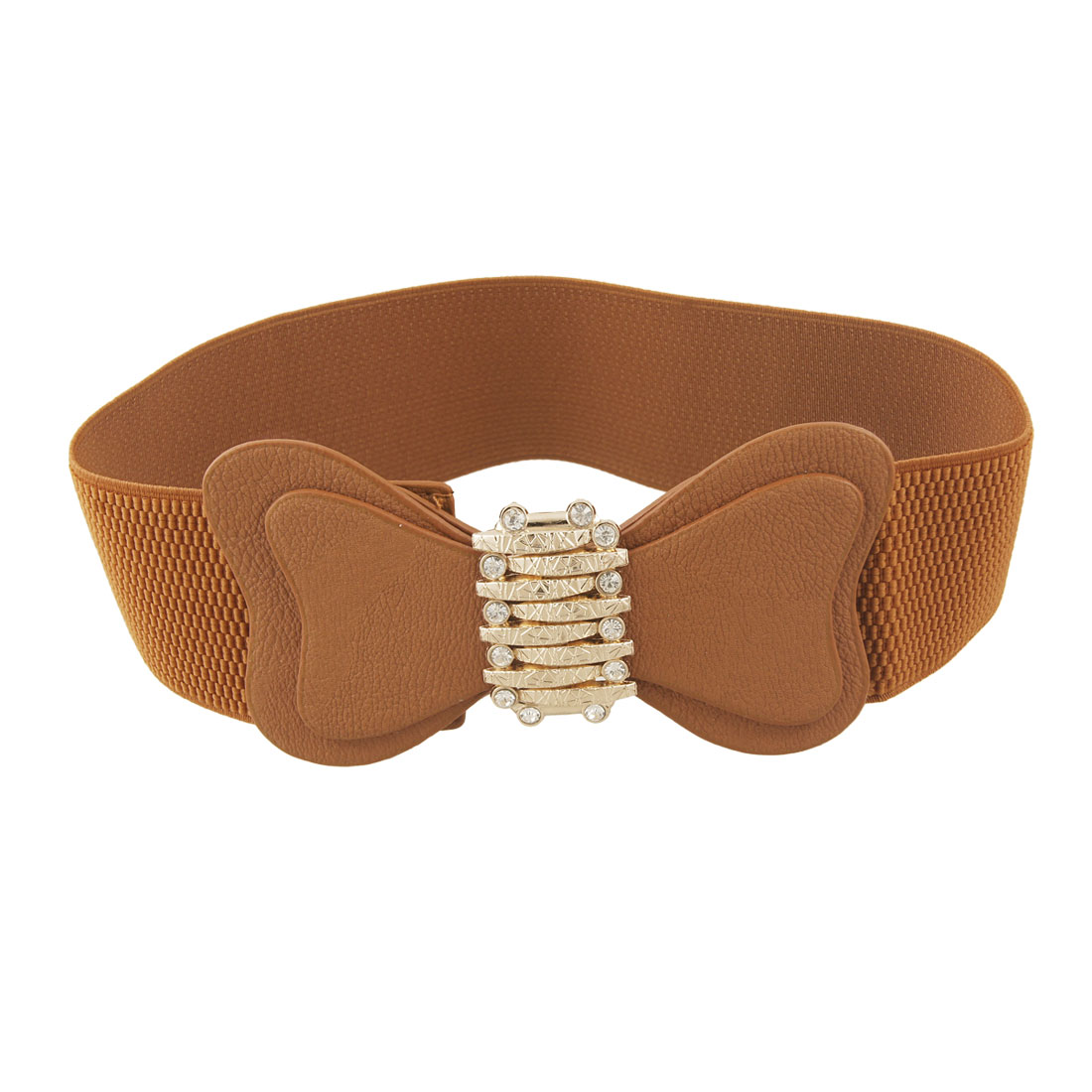 Ladies Gold Tone Metal Decor Brown Elastic Waist Cinch Belt