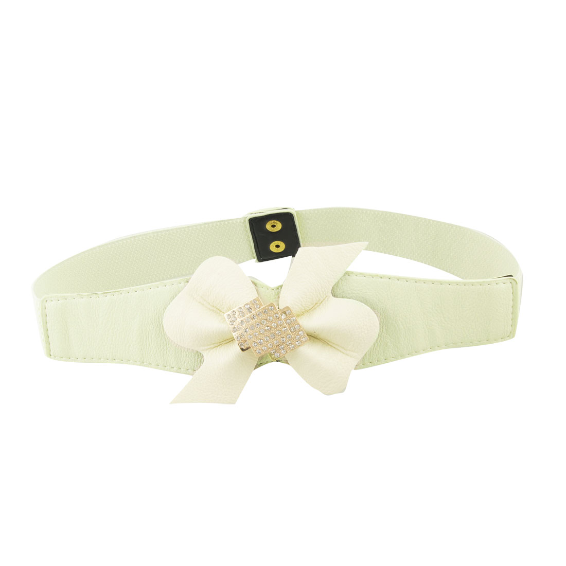 "Lady Press Button Beige Bowknot 1.5"" Width Stretch Belt"