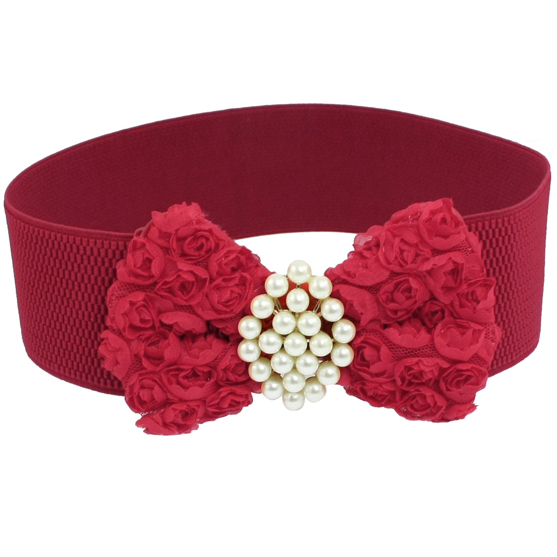 """Woman White Beads Decoration Red 2.4"""" Wide Elastic Cinch Belt"""
