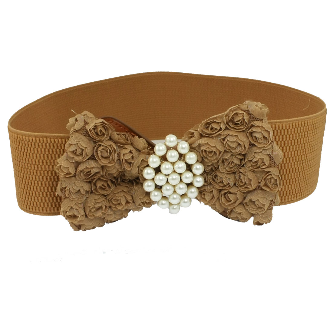 Ladies Flower Bowknot Accent Light Brown Elastic Cinch Belt