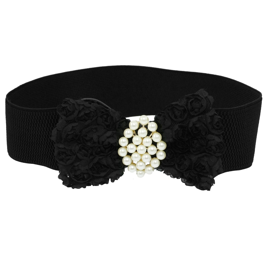 Woman Flower Bowknot White Beads Decor Black Elastic Cinch Belt