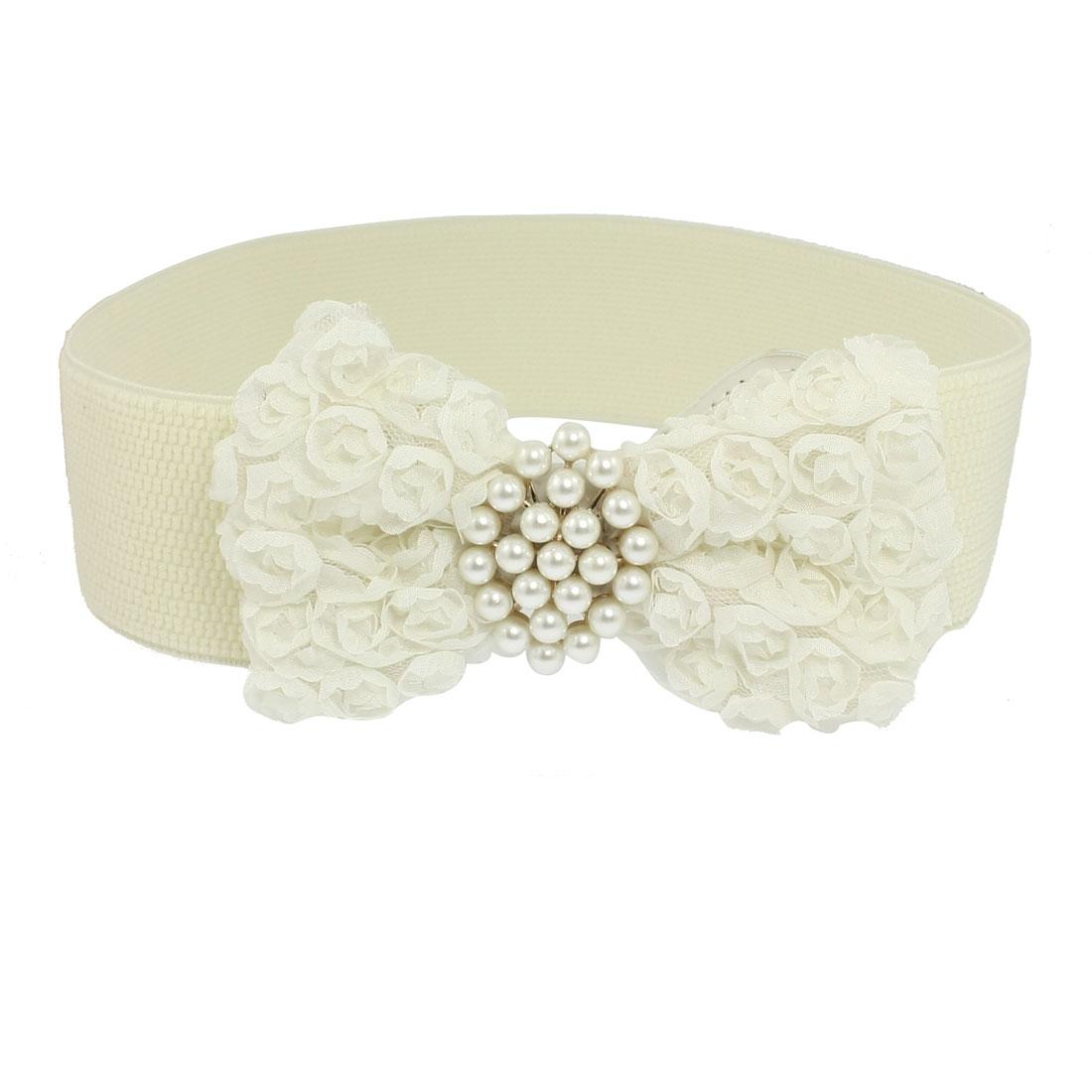 Women Floral Bowknot Beads Decor Beige Stretch Cinch Belt